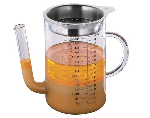Fett-Trennkanne aus Glas mit Edelstahl 1L – Ölabscheider – Florentiner Flasche